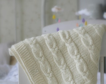 KNITTING PATTERN cable blanket Getter in 4 sizes