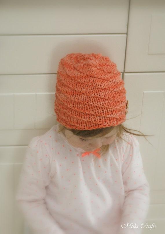 KNITTING PATTERN spiral beanie hat Twist (baby, toddler, child, adult sizes)