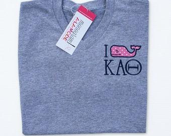 Whale Applique Kappa Alpha Theta Greek Letter V-Neck Tee Shirt