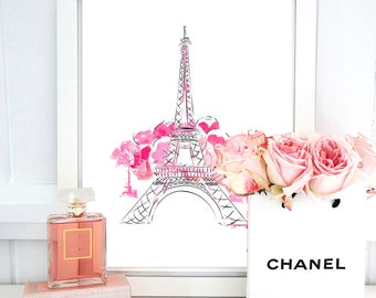 Eiffel Tower Print. Paris Watercolor Artwork. Illustrated art. Beautiful high fashion wall art. Modern Home Décor.