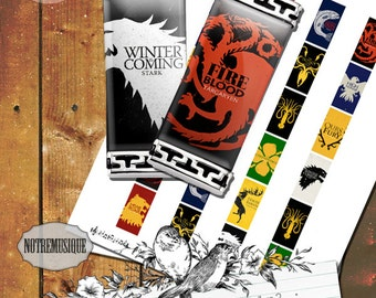 GAME OF THRONES Digital Collage Sheet, rectangle pendants 1x2; 1.5x.75inch & 15mmx30mm; domino,magnets,necklaces,jewlery supplies,printables