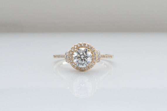 14K Yellow Gold Round Halo Engagement Ring Unique Engagement