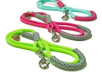 Handmade Rope dog leash - Fresh Colorful Neon climbing rope combinations - Sporty Leashes for Stylish Athletic Canines!