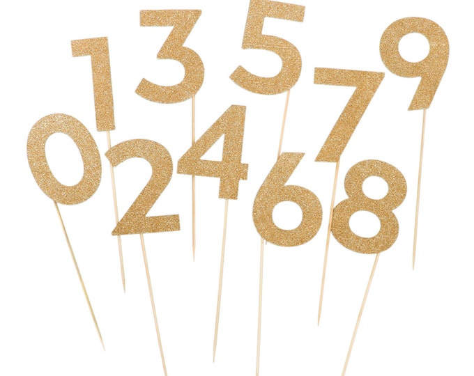 Table Numbers | Glitter Table Number Double Sided SET for Weddings | Party Picks | 10 Pack of Numbers | Glitter Number  | Number Stakes