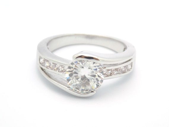round cut engagement ring cz ring cz wedding ring cz engagement