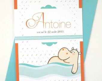 """Illustrated Birth Announcement Card """"Hippopotamus"""""""