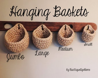 Coat Rack Baskets, Wall Storage, Chunky, Eco Friendly Jute Hook Storage Basket, Sturdy Rustic Hanging Pouch, Plant Hanger, Heavy Duty
