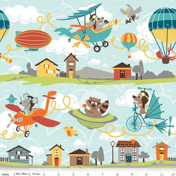 Children 39 s flying fabric riley blake little flyers c4570 for Childrens airplane fabric