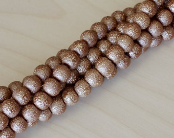 6MM Light Brown Glass Pearl Beads