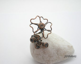 Copper Ring, Wire Wrapped Jewelry Handmade, Flower Adjustable Ring, Copper Wrapped Ring, Adjustable Copper Ring, Wire Jewelry Handmade