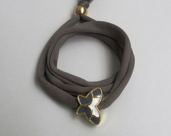 Triple wrap butterfly bracelet,Golden enameled acrylic charm,Stretchy lycra fabric,Faux bijoux,Stacking,Ethnic handmade friendship jewelry