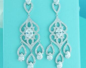 CZ Chandelier earrings, cubic zirconia earrings, wedding jewelry, bridal jewelry, wedding earrings, dangle bridal earring