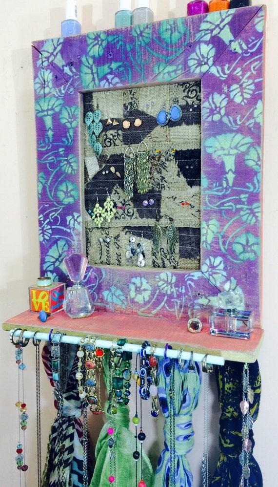 Makeup organizer /jewelry wall hanging shelf /floating shelves/ reclaimed pallet wood earring holder 4 scarf hooks, 9 teal necklace hooks