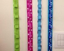 Ribbon headband holder organizer custom made hand sewn includes hair bow pink purple