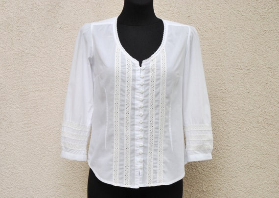 White Cotton Camp Style Blouse 95
