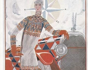 Vogue Magazine Cover 1924 motoring car art deco art nouveau home decor print fine art fashion vintage from 1981
