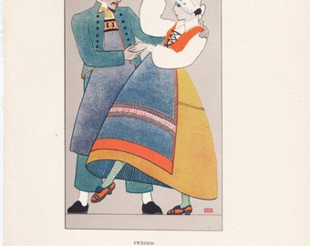 Sweden Swedish traditional dress peasant costume Kathleen Mann vintage book plate scandinavian folklore Europe