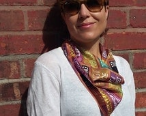Small square scarf, purple, brown and ochre silk scarf with typography print, unique silk scarves for women, gifts for her