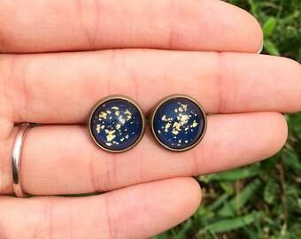 Gold Flecked Navy Earrings // Stud Earrings