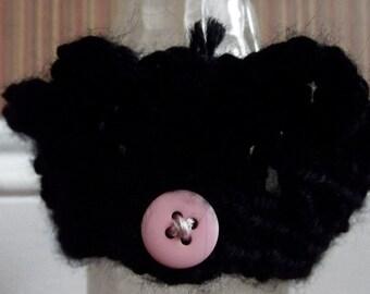 Black Crochet Cuff Bracelet