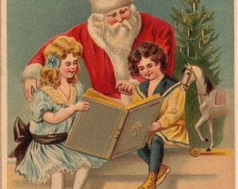 Santa Claus with Children Reading Book 1908 Postcard