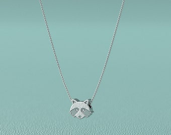 Diamond Raccoon Necklace.  Sterling Silver pendant and necklace. Great For Wildlife Enthusiast.
