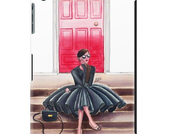 iPad case, ipad cover, ipad mini, ipad air, fashion illustration, fashion art, girl art, pretty ipad case, watercolor - Red Door