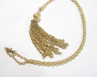 Vintage 1960's Gold Tone Tassel Necklace