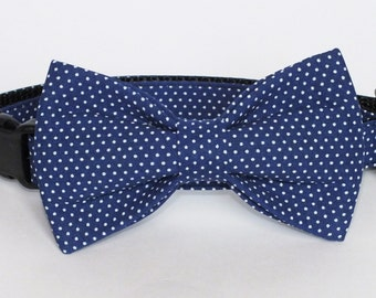 SALE Dark Royal Pin Dot Dog bow tie, Cat bow tie, fabric bow tie for dog/cat collars, pet bow tie, collar bow tie, wedding bow tie