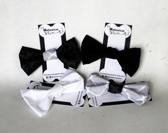 "SALE Grey Dog Bow Tie - Elegant Dog Bowties - Classy Dog Accessories - Velcro Dog Bow Tie - Dark Grey Damask 5"" ONLY"