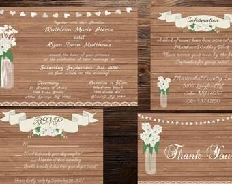 Hydrangea Rustic Mason Jar Wedding Invitation Set - Digital - Print Options