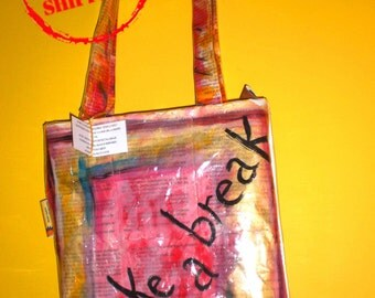 Bag made with hand painted paper recycling Bag pages book, bag, bag to read