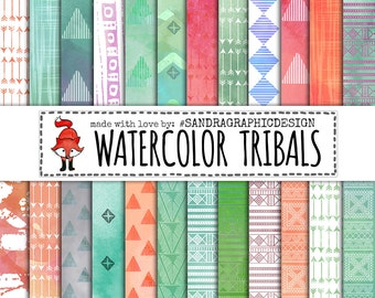 "Digital paper: "" TRIBAL WATERCOLOR PAPER"" with tribal patterns made with watercolor paint (1221)"