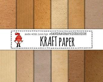 "Digital paper pack: ""KRAFT PAPER"" with brown kraft paper backgrounds, textures, instant download (1095)"