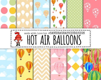 "Hot air balloons digital paper: ""HOT AIR BALLOONS"" with colorful hot air balloons, chevrons and clouds for scrapbooking, cards (1202)"