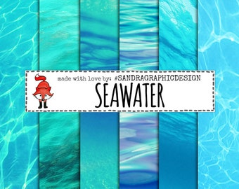 "Sea digital paper: ""SEAWATER PAPER"", ocean digital paper, beach, summer digital paper, water background, ocean background (1190)"