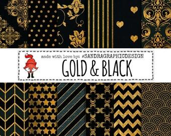 """Damask digital paper: """"BLACK & GOLD"""" with damask patterns, gold patterns, gold digital paper, black digital paper (1035)"""
