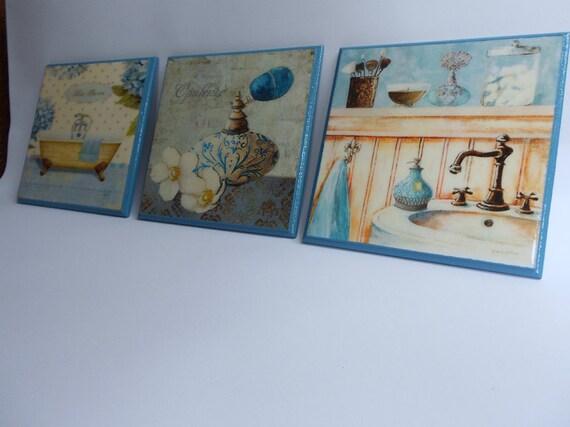 Plaques Powder Room Wall Decor Bathroom Wall Decor Blue Plaques