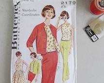 UNUSED original vintage 1960s BUTTERICK sewing/dressmaking pattern~Wardrobe coordinates~Jacket, tapered pants,2 skirts,blouse,shorts (B2179)