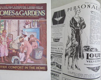 Delightful vintage HOMES & GARDENS magazine November 1931~Fabulous 1930s time capsule~Interiors, adverts, features~Theatre/Film prop