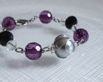 Purple, Black, and Silver Beaded Bracelet