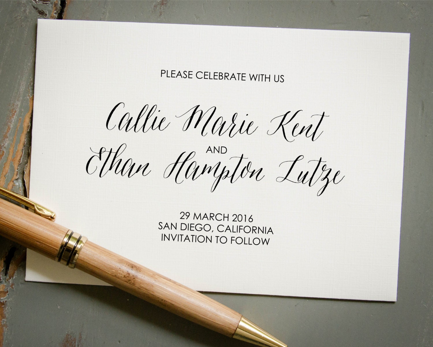 Self Inking Wedding Save The Date Stamp Custom Calligraphy