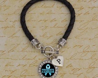 Custom Initial Prostate Cancer Leather Bracelet