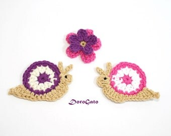 Cute Crochet Snail Applique, Crochet appliques, crochet snail decorations,  crochet mini flower