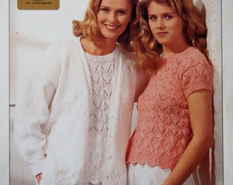 Vintage King Cole Knitting Pattern 1990s (1993) Short sleeved jumper/sweater & cardigan