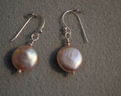 Pink Lustrous Disc Pearl Earrings with Sterling Silver Accent Beads on Sterling Silver Ear Wires