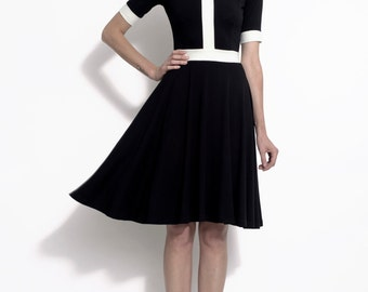 Black and white vintage style mod inspired color block dress in stretch bamboo - the Monika
