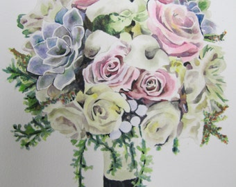 "Custom 8""x10"" Flower Bouquet Painting"