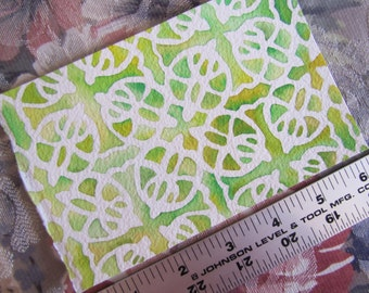 "Pattern Tamika in Yellow-Green (4""x6"" Watercolor Painting)"