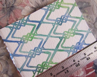 "Pattern Michelle in Blue-Green (4""x6"" Watercolor Painting)"